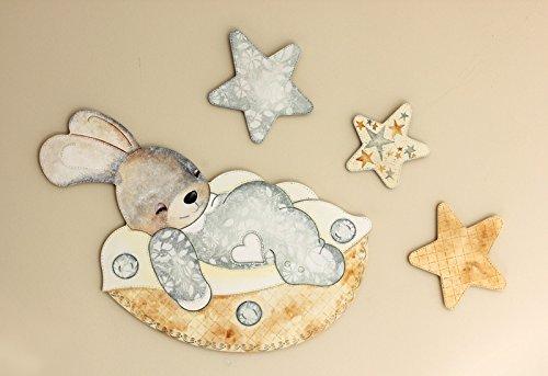 Silueta conejo tamaño grande con estrellas, para decoración de pared, en DM para pintar