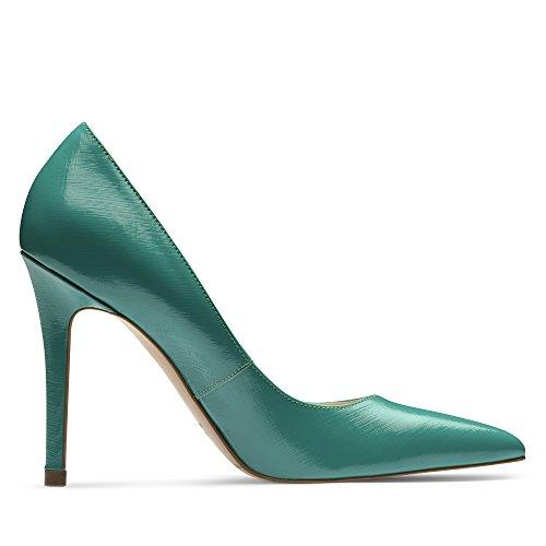 ALINA Damen Pumps Lack mit Prägung Grün