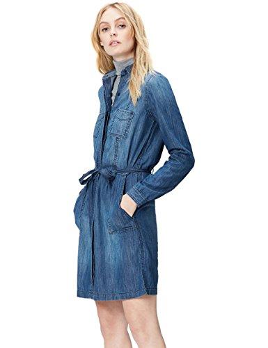 FIND Kleid Damen aus Denim, mit Gürtel, Hemdkragen, Taschen, Knopfleiste, Blau (Blue), 44 (Herstellergröße: XX-Large)
