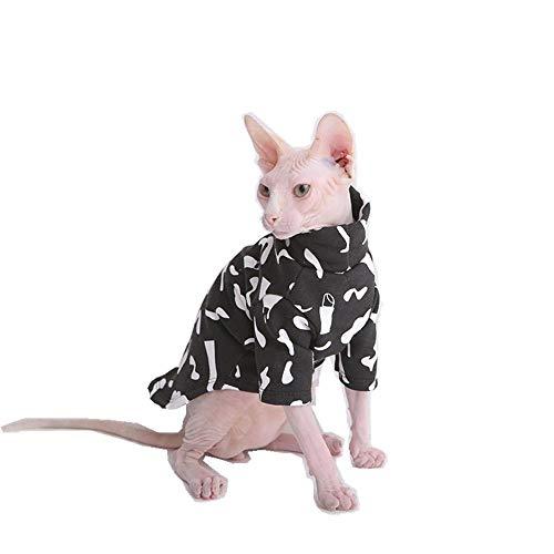 nter Baumwolljacke Nackte Katze Hoher Kragen Kleidung Verdicken Warme Haustierjacke Schwarz Erwachsene Katze, Schwarz, S ()