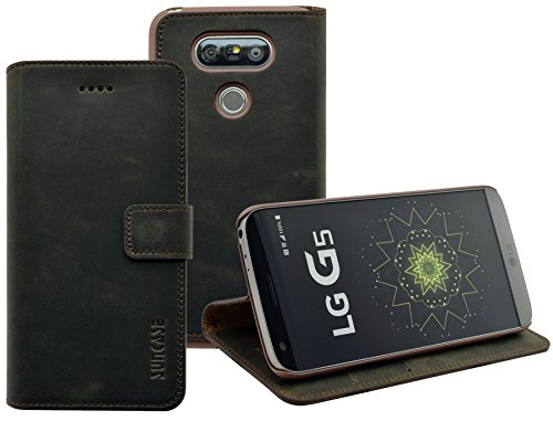 LG G5 | LG G5 SE | Suncase Book-Style (Slim-Fit) Ledertasche Leder Tasche Handytasche Schutzhülle Case Hülle (mit Standfunktion und Kartenfach) antik braun