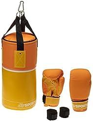 ScSPORTS Boxsack-Set, Boxsack gefüllt 3 kg, Boxhandschuhe, Boxbandagen, Inklusive Tragetasche, Boxsackhalterung Nylongurte mit Karabiner, 40 x 20 cm, Kunstleder, gelb / orange