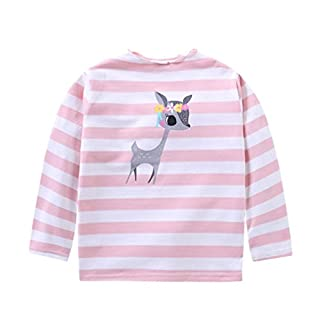 Baby Girls Stripe Deer Printing Long Sleeve Tops T-Shirt Blouses 3-7Years (6Year, Pink)