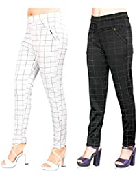 Aaina creations Women's Cotton Silk Check Jegging (30 to 34, Grey, Large) -Combo Pack of 2