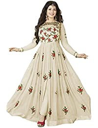 Ethnic Empire Women's Georgette Semi-Stitched Anarkali Salwar Suit Piece (Ethnic_FlexER10216_Off White_Free Size)