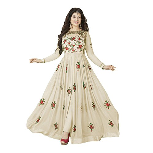 Lady Fab Women\'s Georgette anarkali Semi Stitched Salwar Suit For Women - White