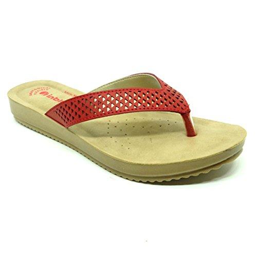 INBLU Women's Red Comfort Slipper (bm29red38, Red, 38)(bm29red38)