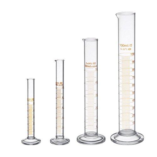 Verre Borosilicate éprouvette graduée Kit Laboratoire avec deux Brosses 5 ml 10 ml 50 ml 100 ml