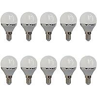 10-pezzi - 4123 - V-TAC - Lampadina LED P45 - Casquillo E14 - Potenza 4W (sostituisce 30 W) - Luce Bianca Calda (2700K) - 320 lm - Angolazione fascio luce 180°
