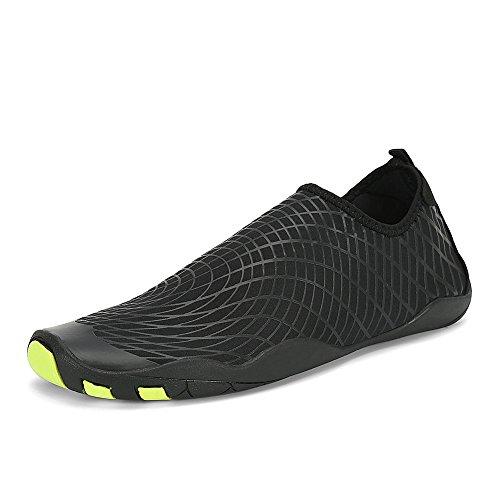 Dannto Herren Damen Unisex Schnell Trockene Wasser Schuhe Leichte Aqua Schuhe for Strand, Schwimmen, Yoga, Tauchen Größe 35-46(black, 46)