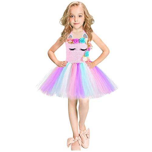 FEIXIANG Blumenmädchen Tüll Kleid Kinder ärmellos Regenbogen Prinzessin Tutu Kleid Geburtstag Outfits Kostüm Cosplay Pageant Ballett Kleid