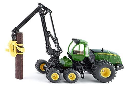 SIKU 1994, John Deere Harvester Holzvollernter, 1:50, Metall/Kunststoff, Grün, Flexibel drehbarer Arm, Inkl. 2 Kunststoff-Holzstämmen - 50 John Deere-1