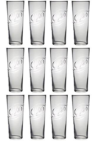 J2O Luminarc Highball Tumbler Glass 12 x 450ml/16oz Large and Tall 18cm Straight Sided Hi Ball Glassware Set for Drinking Juice, Water, Cordial, Cocktails Clear Dishwasher Safe Glasses Made in France