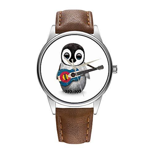 Herrenuhr braun Cortex Quarz Uhr für Männer berühmte Luxus-Armbanduhr Quarzuhr für Business-Geschenk Baby-Pinguin, der Colorado-Flaggen-Gitarren-Armbanduhr spielt (Gitarre Flagge)