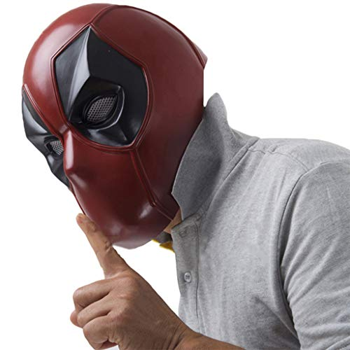 Hulk Kinder Kostüm Red - QWEASZER X-Men Deadpool Vollmaske PVC Helm, Film Cosplay Kostüm Zubehör, Halloween Maske Helm für Erwachsene Männer Kostüm,Red-56~62cm