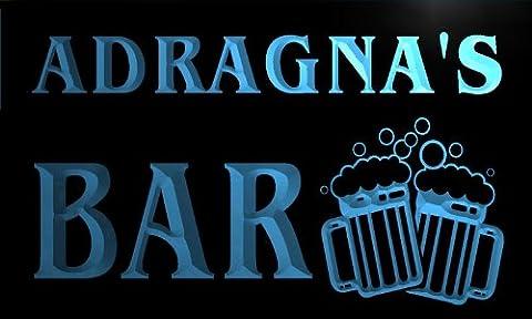 w027475-b ADRAGNA'S Nom Accueil Bar Pub Beer Mugs Cheers Neon Sign Biere Enseigne Lumineuse