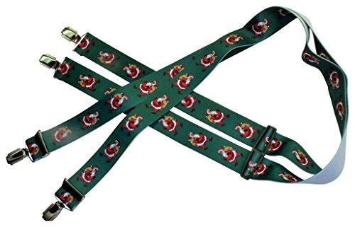 Teichmann Weihnachts-Hosenträger | Weihnachtsmann auf Grün | Damen und Herren | One Size 120 cm | Anzug-Hosenträger | Arbeitskleidung-Hosenträger