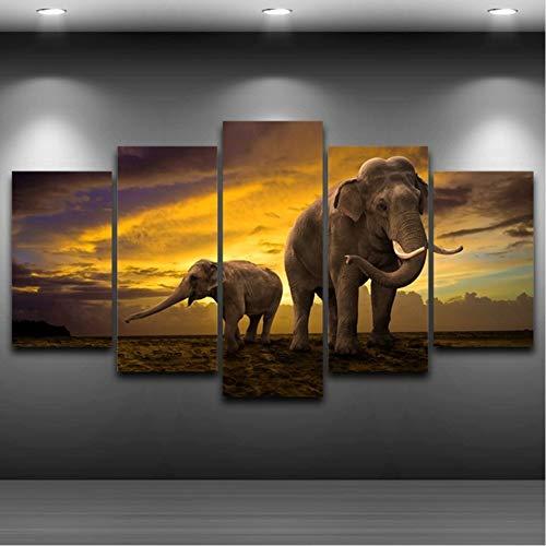zyzdsd Canvas Art Wall PicturesHome Decorativos Sala De Estar 5 Paneles Elefantes...