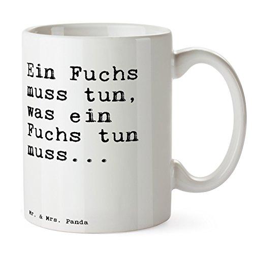 """Mr. & Mrs. Panda Tasse mit Spruch """"Ein Fuchs muss tun, was ein Fuchs tun muss..."""" - 100% handmade aus Keramik - Tasse, Tassen, Becher, Kaffeetasse, Kaffee, Geschenkidee, Geschenk, Tee, Teetasse, Tee, Cup, Schenken, Frühstück Fuchs, Füchse, Schlaumeier, Schlauberger, Besserwisser Spruch Sprüche Lustig Spass Geschenk Geschenkidee Zitate"""
