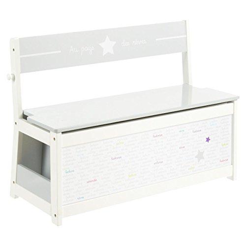 3 en 1 Blanco + Cofre de juguetes de madera + Perchero para niños - Motivo Estrella - Color GRIS y BLANCO