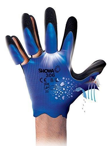 1 Paar 306 vollständig beschichtete Latex Showa Grip Handschuhe Water repellent Arbeitskleidung - Größe 8 groß