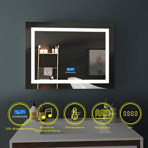 LED Badspiegel 80x60cm Beleuchtung Badezimmerspiegel Wandspiegel mit Bluetooth 4.1 Lautsprecher, Touch-Schalter, Beschlagfrei, Uhr (Und Schalter Datum)