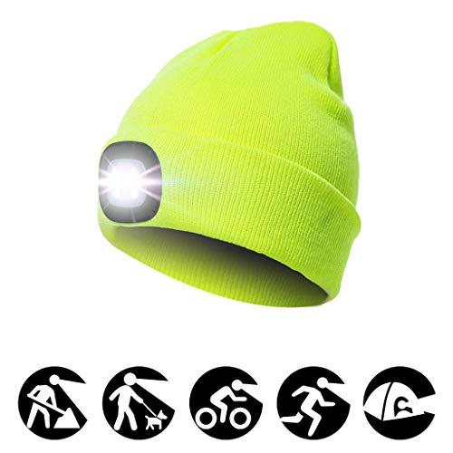 Colorful Camping Outdoor LED Mütze Beanie, 4 LED Hut USB Aufladbare Caps,Winter Warme Strickmütze LED Cap Licht, Scheinwerfer Kappe LED Cap für Walking, Camping, Jogging, Angeln,Herren Damen (Gelb)