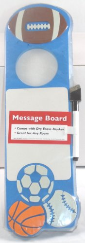 Sports Theme Doorknob Dry Erase Message Board with Marker