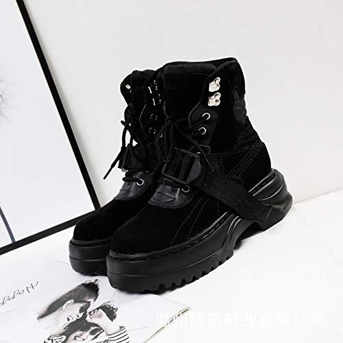 HOESCZS Stiefel Martin Boots Autumn and Winter New Martin Boots Children's Platform Boots Leather Women,Black,38 -