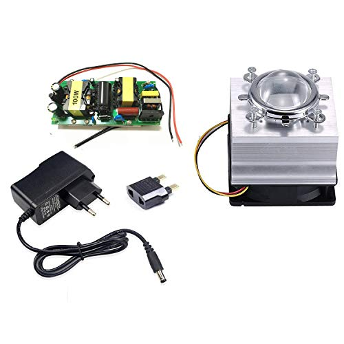 Tesfish DIY 100W führte Fahrer + kühler + Objektiv mit Reflektor Kollimator + Ventilatorfahrer für hohe Leistung LED wachsen helles LED Licht -