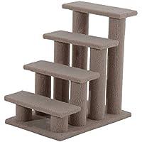 PawHut Escalera de Mascota Escalón Gato con 4 Pasos de Felpa y Postes Cubierto de Sisal 63.5x43x60cm Marrón Claro