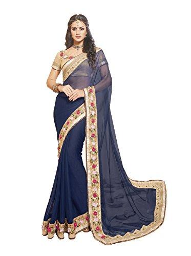 Palav Women's Chiffon Sarees Party Wear/Fancy Chiffon Sarees/Embroidered Chiffon Sarees - Midnight Blue