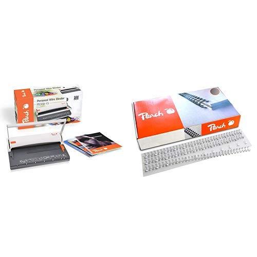 Peach PB300-15 Draht Bindemaschine | Personal Wire Binder Closer DIN-A4 | Testsieger* |  & PW079-10 Drahtbinderücken Easy-Wire, 3:1, 34 Ringe, A4, 100 Stück, 8 mm, silber