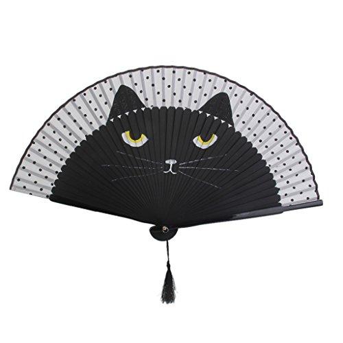 Juguetes de Abanico Plegable Estilo Japonés Dibujo Gato Negro de Tela