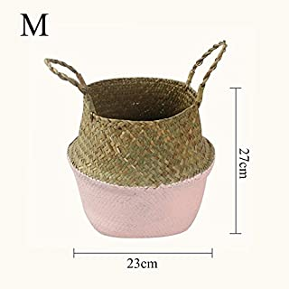 Home storage organization hand-woven collapsible plant pot natural seaweed woven basket toy storage basket woven laundry basket foldable hand-woven storage basket