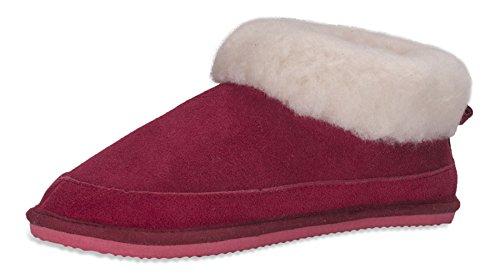 Nordvek - Pantofole in camoscio e lana donna - # 440-100 Rosso