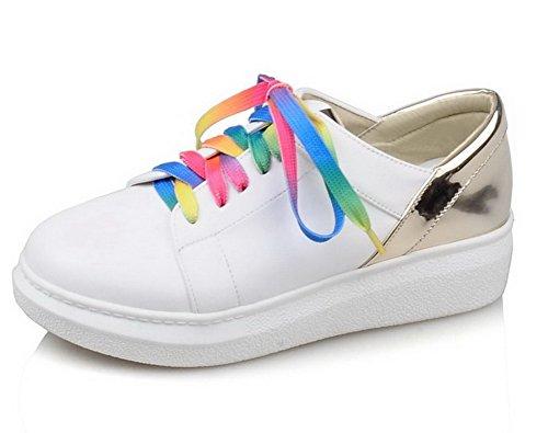 AgooLar Damen Pu Leder Niedriger Absatz Rund Zehe Gemischte Farbe Schnüren Pumps Schuhe Golden