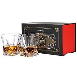 Finether Whiskeygläser Whiskybecher Whiskyglas Whisky Gläser einzigartiges Design | 2er Whisky-Set 340ml für Bourbon Scotch Vodka Wodka Likör Drink