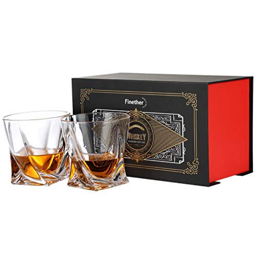 Finether Whiskeygläser Whiskybecher Whiskyglas Whisky Gläser einzigartiges Design | 2er Whisky-Set 340ml für Bourbon Scotch Vodka Wodka Likör Drink