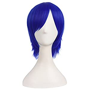 MapofBeauty 12 Inch/30cm Men Male Short Cosplay Synthetic Wig (Navy Blue)