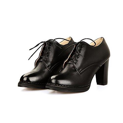 AgooLar Damen Weiches Material Schnüren Rund Zehe Rein Pumps Schuhe Schwarz