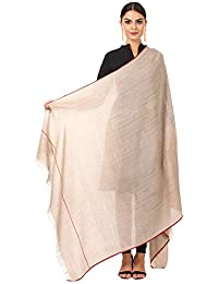 Pashtush Women's Basket Weave Woolen Shawl (Light Taupe Beige, 40x80 Inches)