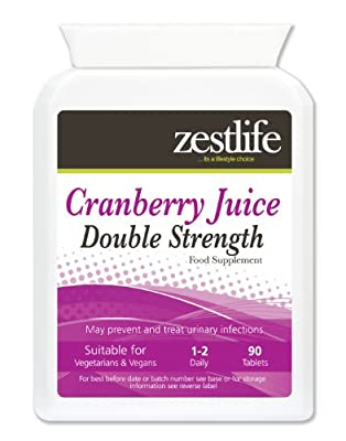 Zestlife Cranberry Tablets Double Strength 4500mg - 90 tablets | *SPECIAL OFFER* May prevent and treat urinary infections. Manufactured in UK from Zestlife