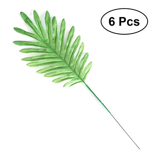 (bestoyard Künstliche Coconut Palm Blätter Tropical Plant Handarbeit Pops für Home Party Hawaii Party Dekorationen (hellgrün) Pack 6)
