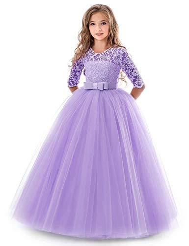 NNJXD Mädchen Festzug Stickerei Prom Kleider Prinzessin Hochzeit Kleidung Größe(140) 8-9 Jahre...