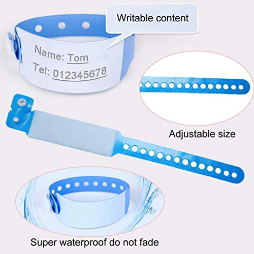 SwirlColor ID Wristbands for Adults  Disposable Event Wristbands PVC Safety ID Bracelet 100 Pack  Blue