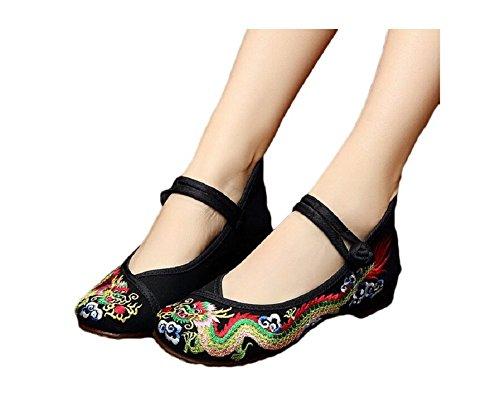 Lazutom Vintage estilo chino mujeres bordado Zapatos de Ballet algodón Loafer, color negro, talla 41 EU