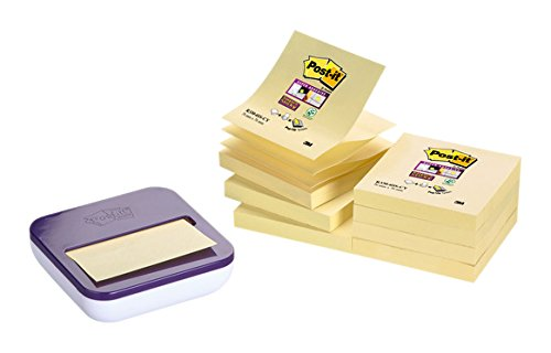 Post-it VAL-L8Y Spender für Super Sticky Z-Notes, 1 Z-Notes Spender, 8 Blöcke à 90 Blatt, lila