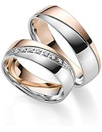Anillos de boda Gold 333 en bicolor; incluye Grabado + piedra ...