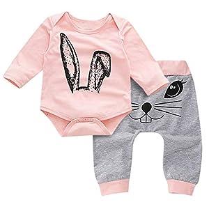 catmoew Mädchen Sets (0M-2T) Mädchen Kleidung Kind Lange Ärmel Tops Kaninchen Cartoon Drucken Strampler + Hosen Sets Neugeborene Kleidung Kinder Kleider